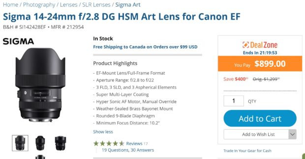B&H Today Only – Sigma 14-24mm f/2.8 DG HSM Art Lens for $899 ...