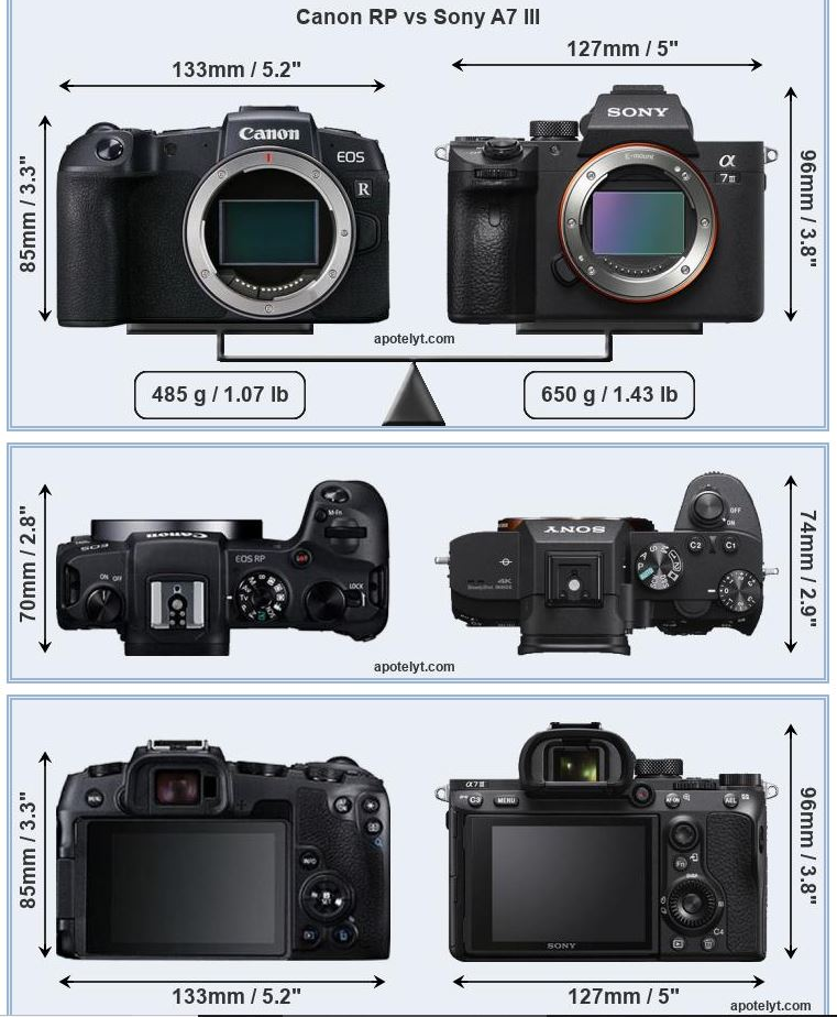 Size Comparison Canon Eos Rp Vs Eos R Vs Sony A7 Iii Vs