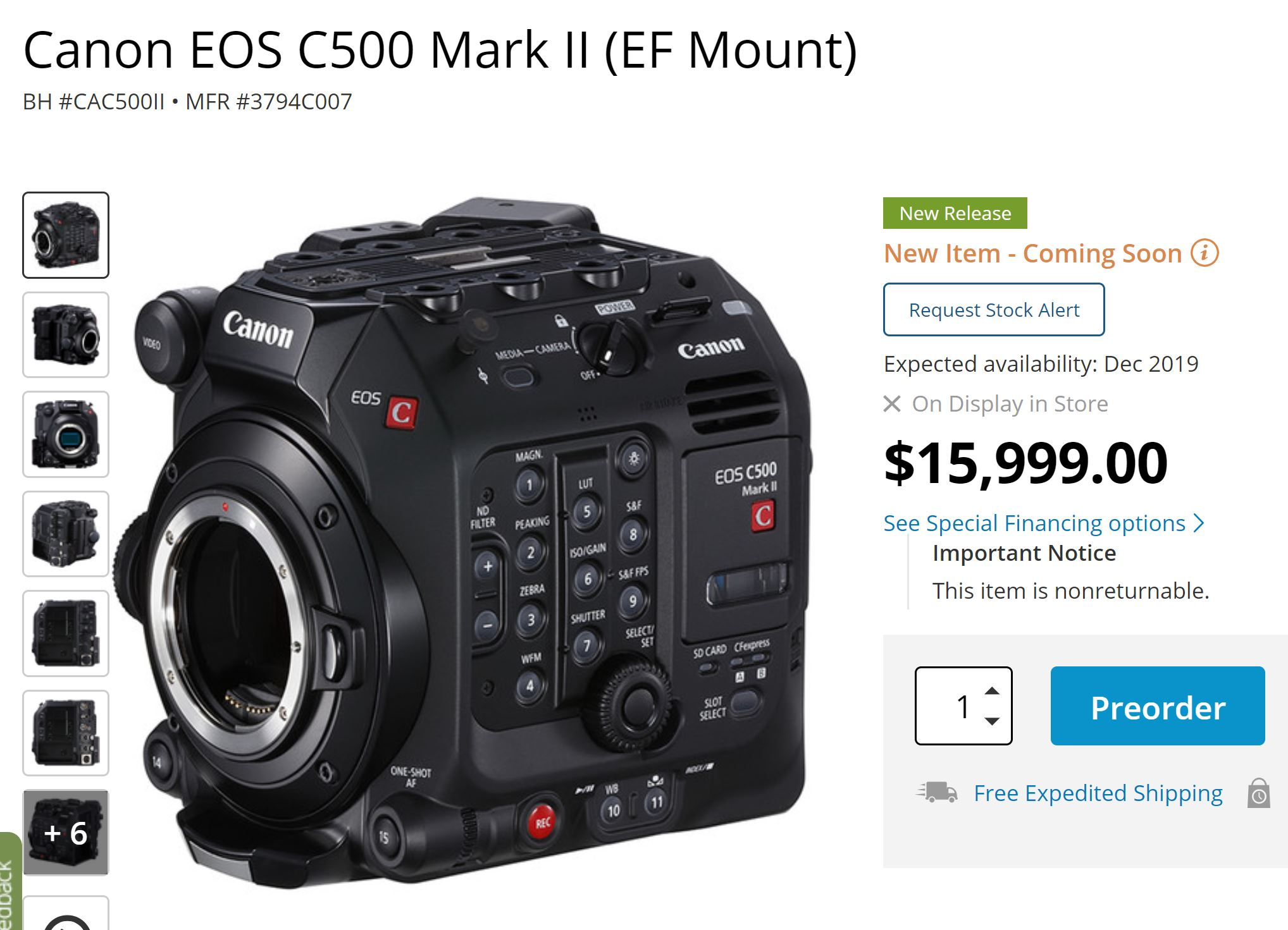 Canon EOS C500 Mark II now Available for Pre-order ! – Canon